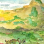 aquarelle-troupeau de-chevre en montagne